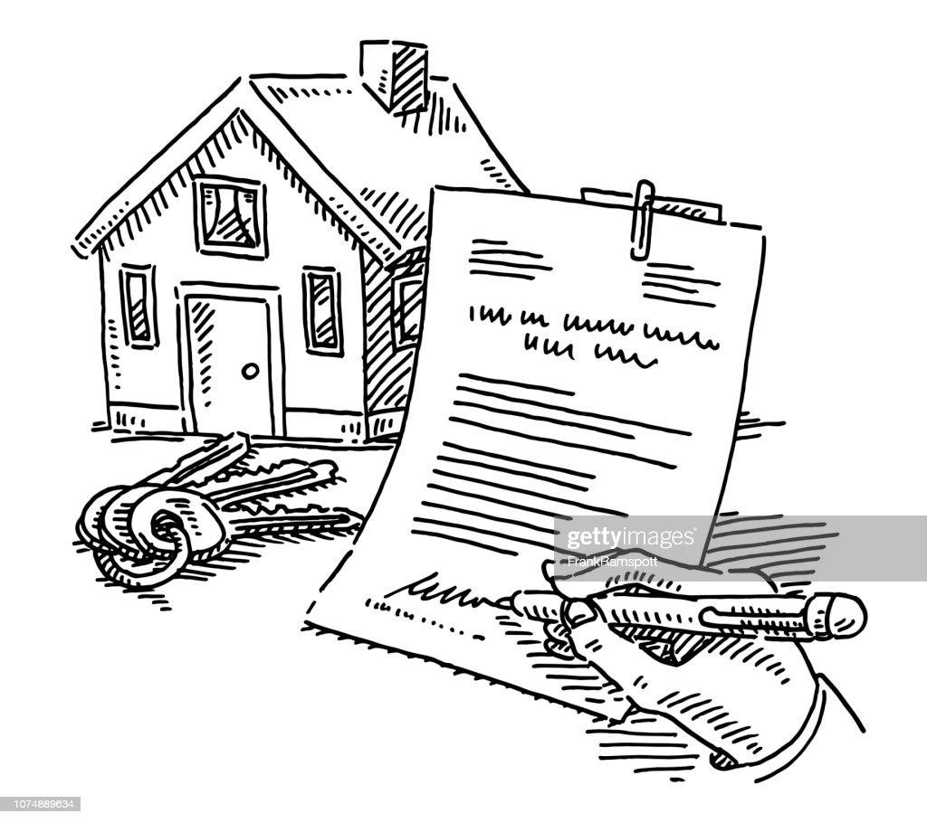 Haus Tasten Unterschrift Vertrag Zeichnung : Vektorgrafik