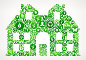 House Nature and Environmental Conservation Icon Pattern