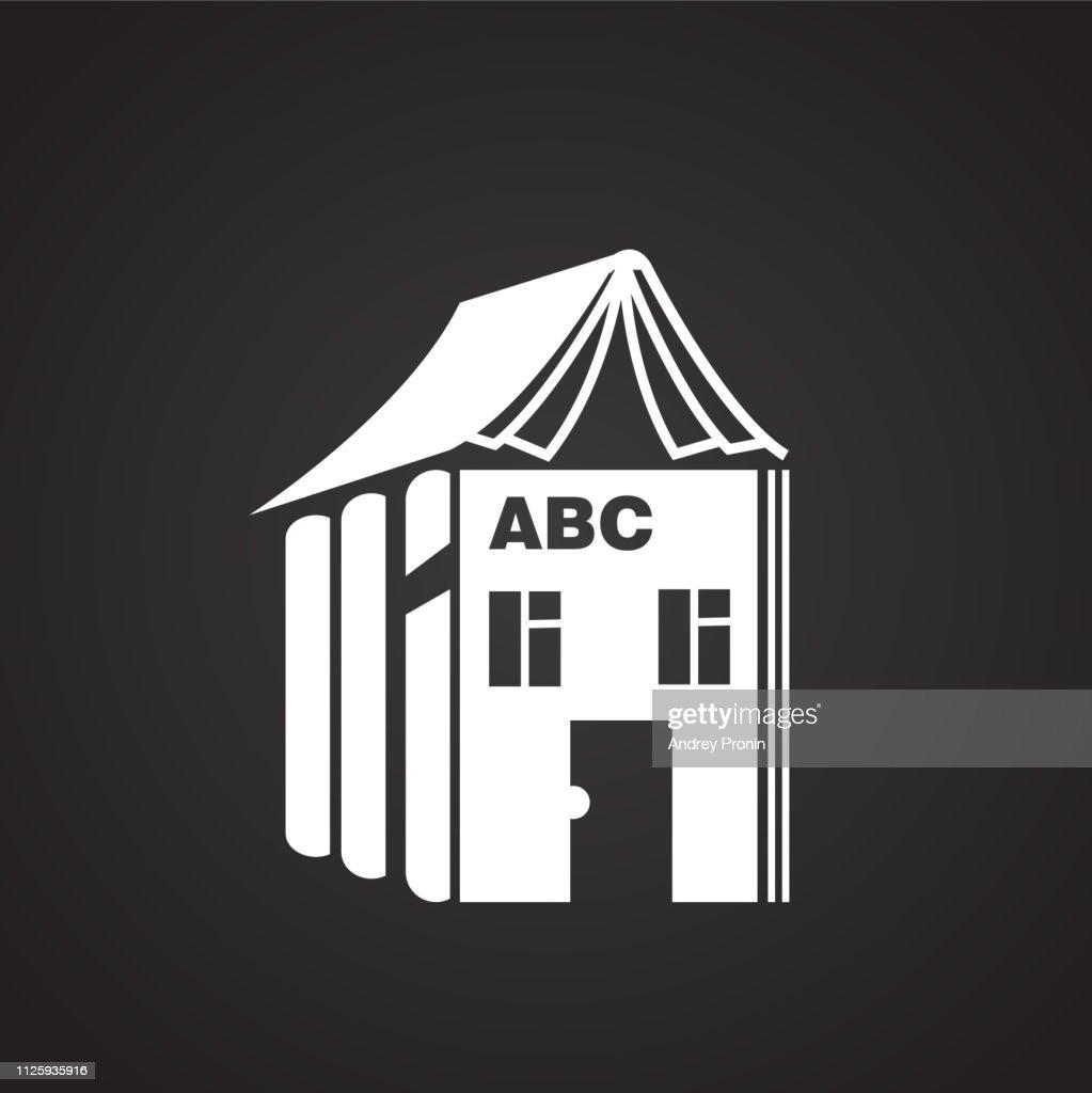 House of alphabet on black background