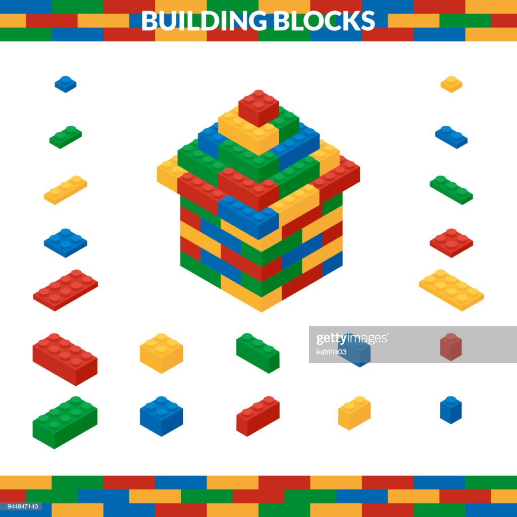 House of multicolored building blocks in isometric style