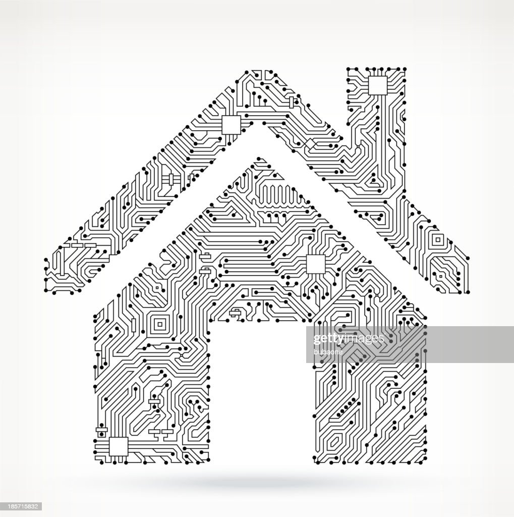 House On Circuit Board Vector Art   Getty Images