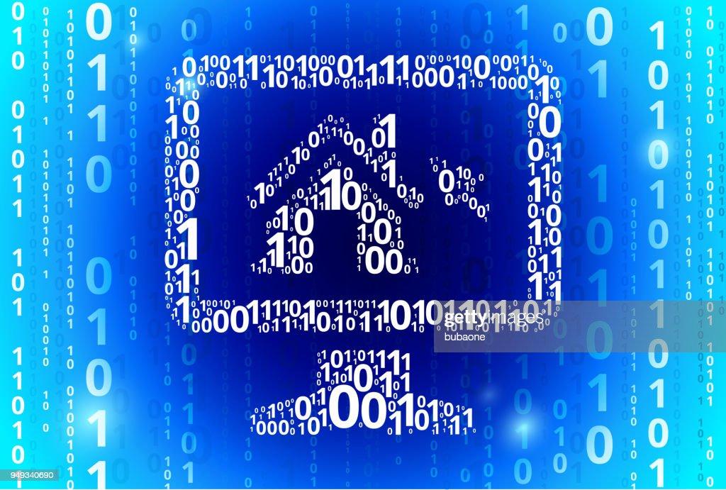 デスクトップのバイナリ コード青いベクトル パターン背景の家 ベクトル