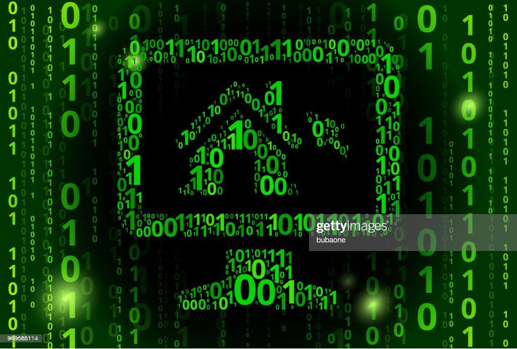 デスクトップのバイナリ コード ベクトル パターン背景の家 ベクトル