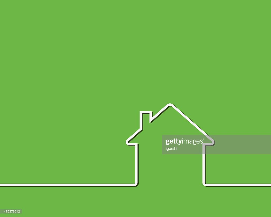 house outline green green background