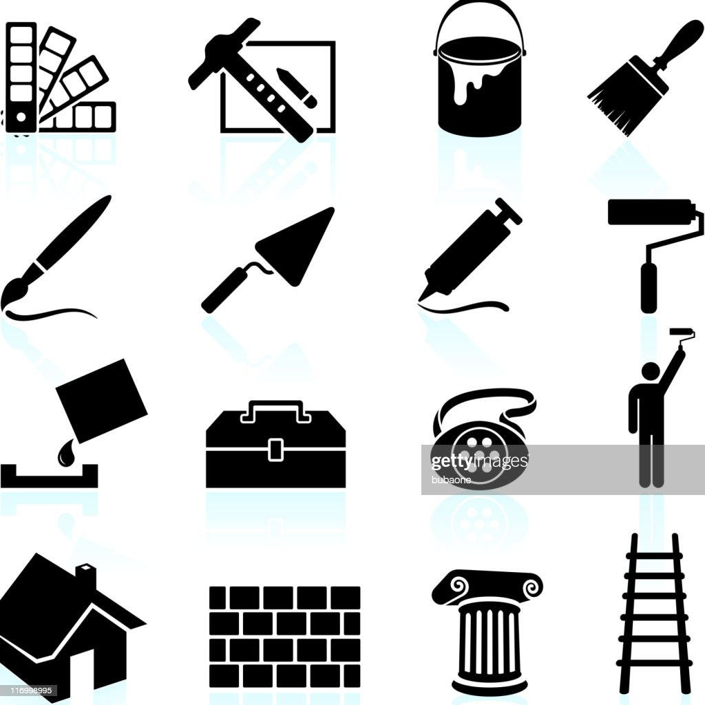 house painting black and white royalty free vector icon set