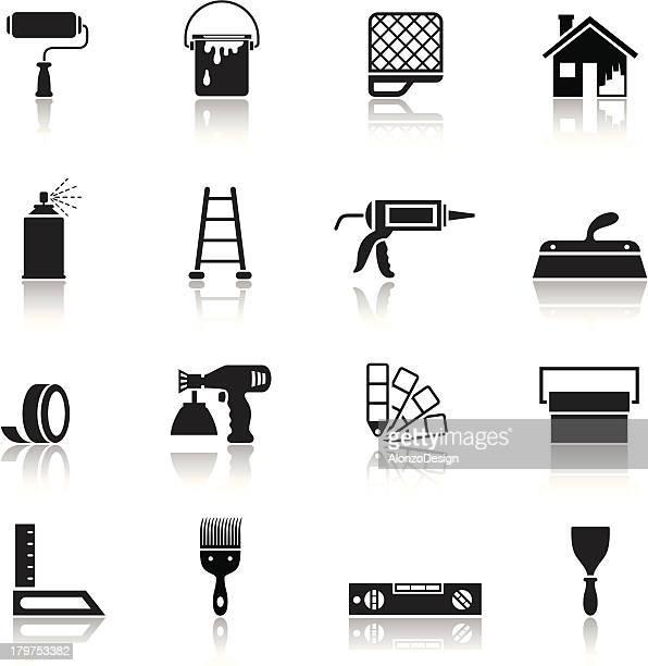 ilustraciones, imágenes clip art, dibujos animados e iconos de stock de icono de la casa de pintura - pintores de brocha gorda