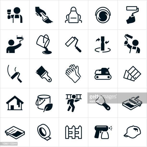 ilustraciones, imágenes clip art, dibujos animados e iconos de stock de iconos de pintura de casa - pintores de brocha gorda