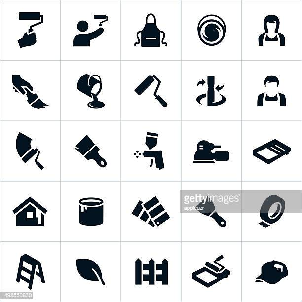 house painting icons - work tool stock illustrations