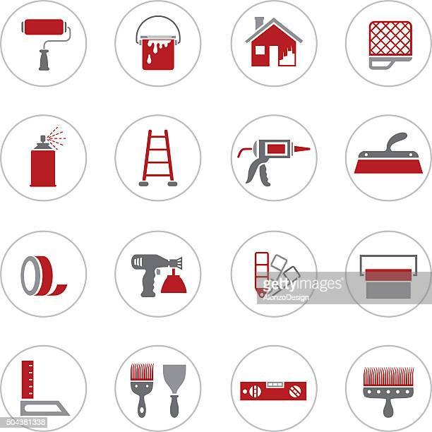 ilustraciones, imágenes clip art, dibujos animados e iconos de stock de pintura de iconos de casa - pintores de brocha gorda