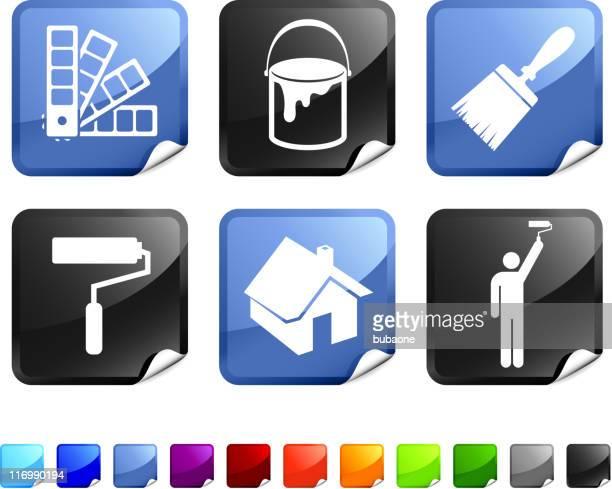 ilustraciones, imágenes clip art, dibujos animados e iconos de stock de house pintura conjunto de iconos vectoriales sin royalties - pintores de brocha gorda