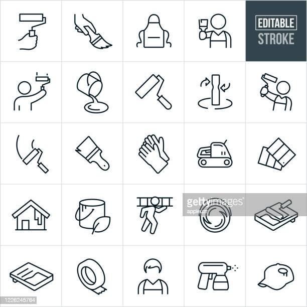 ilustraciones, imágenes clip art, dibujos animados e iconos de stock de iconos de línea fina de pintura de la casa - trazo editable - pintores de brocha gorda