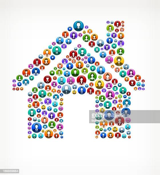 House People and community vector buttons