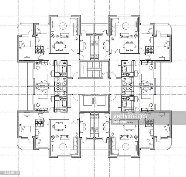 house plan architectural drawing - architecture stock illustrations, clip art, cartoons, & icons