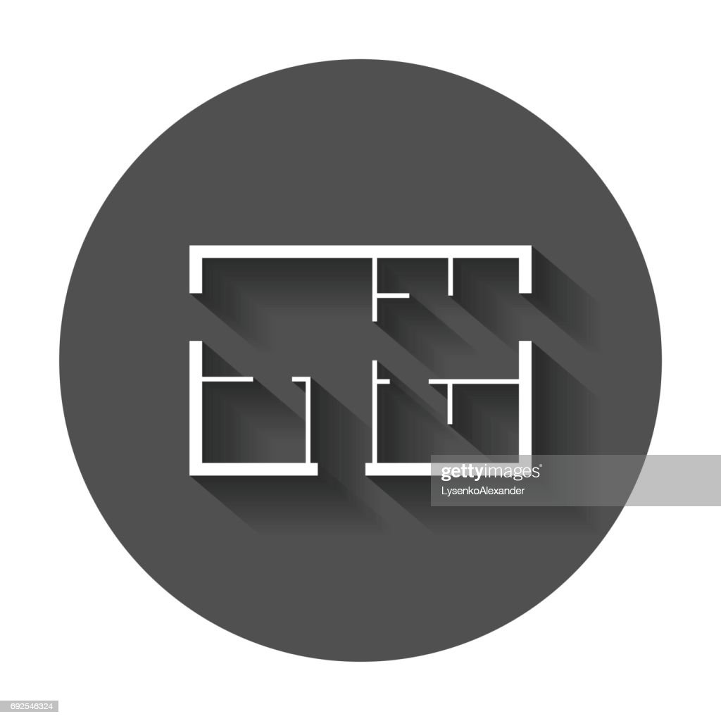 House plan simple flat icon.