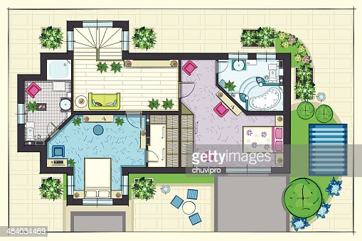 House Plan Top View Of A Second Floor Stock Vector Getty