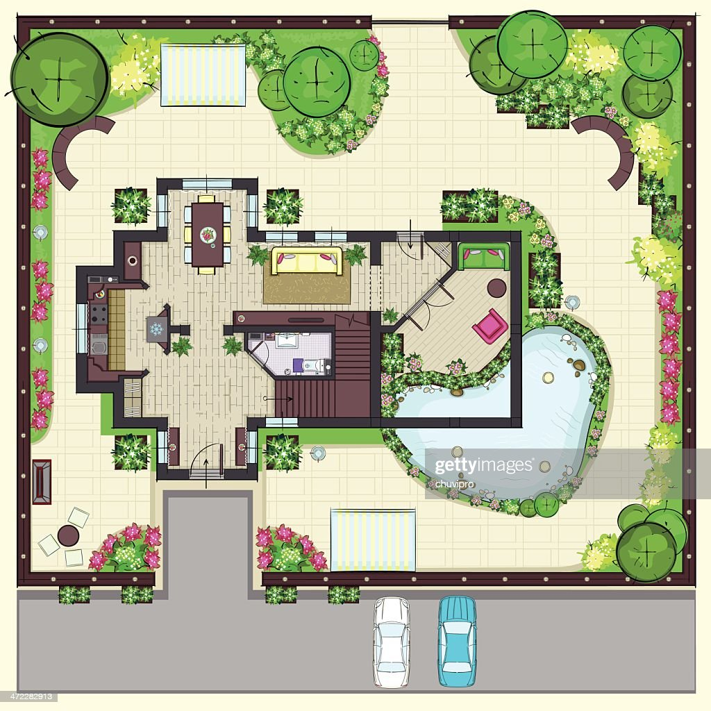 Superb House Plan Top View With Garden