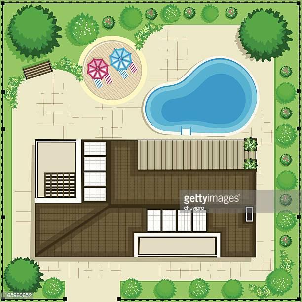 ilustrações, clipart, desenhos animados e ícones de plano de casa - flowerbed
