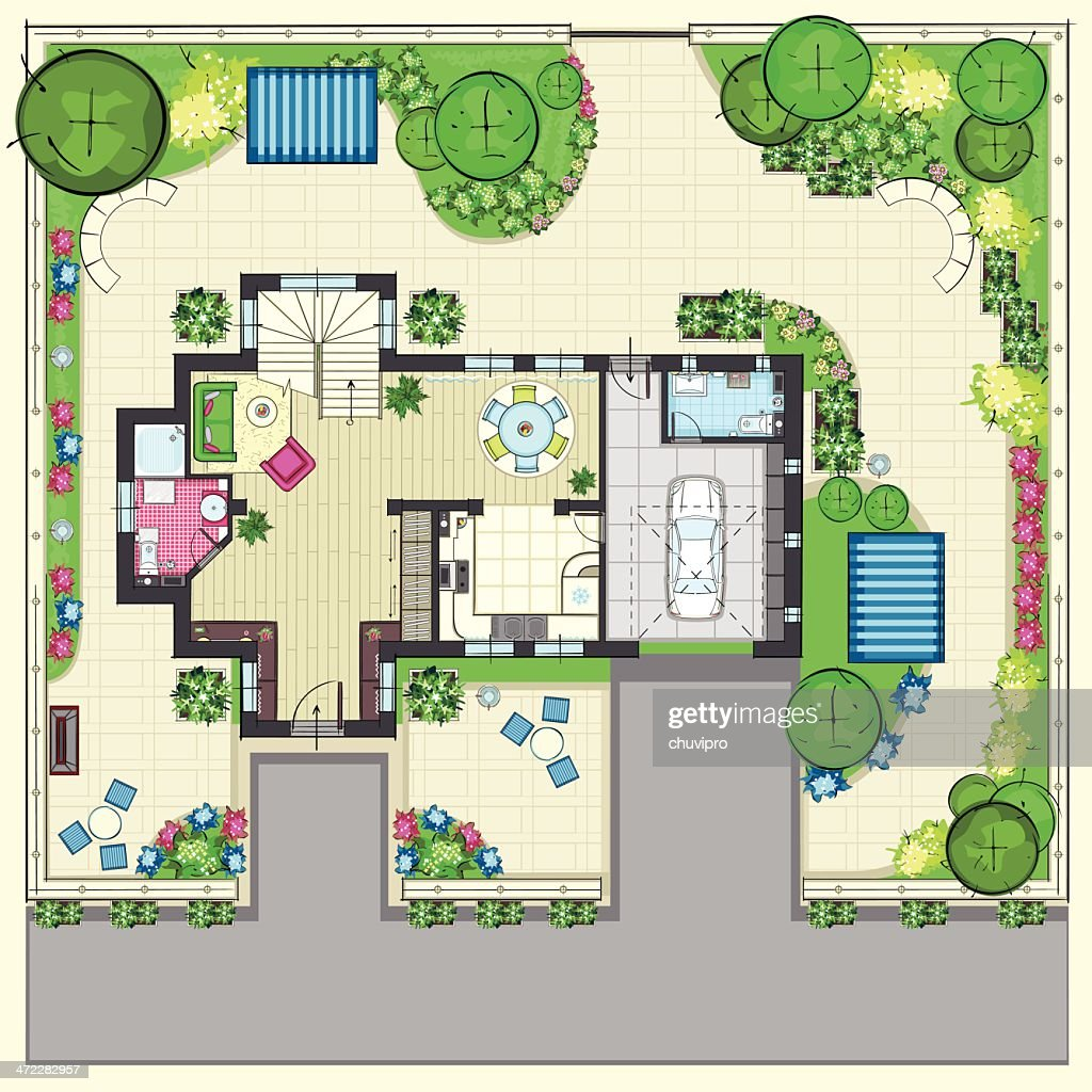 House plan with a beautiful garden and four lounge zones : stock illustration