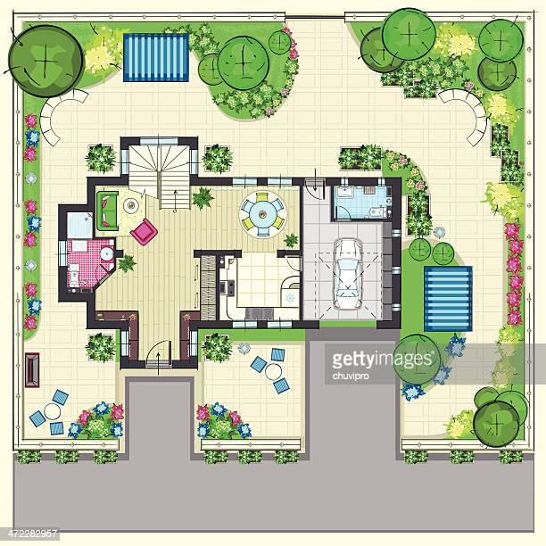 house plan with a beautiful garden and four lounge zones - landscaper stock illustrations, clip art, cartoons, & icons