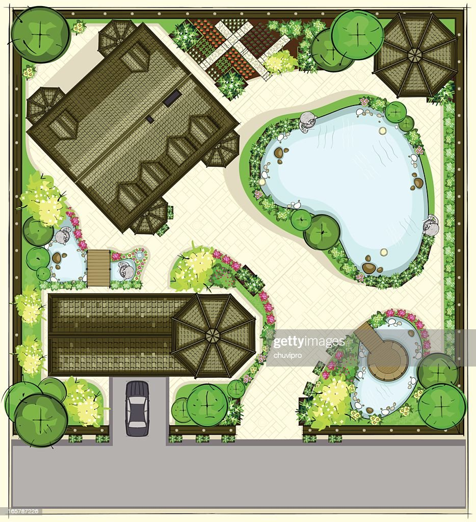 House plan with a beautiful garden, garage, and large pond