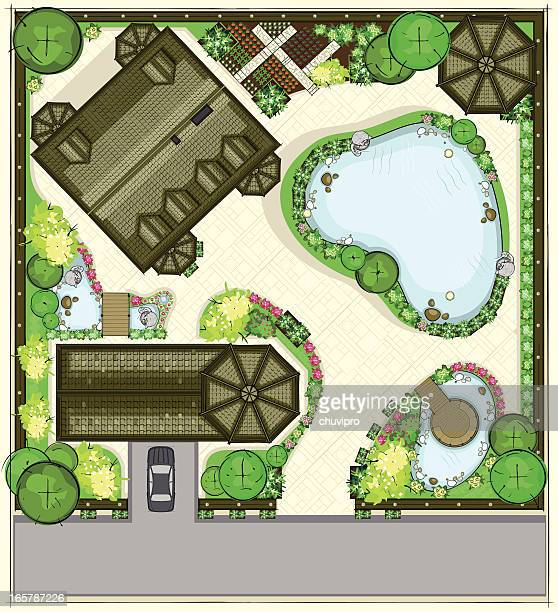 house plan with a beautiful garden, garage, and large pond - garden drawing stock illustrations