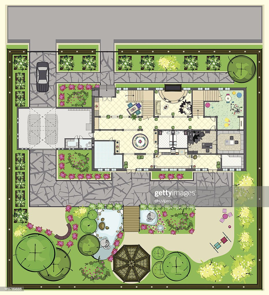 House plan with furnishings and beautiful garden