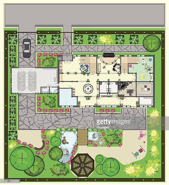 house plan with furnishings and beautiful garden - vegetable garden stock illustrations, clip art, cartoons, & icons
