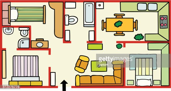 House Plans And Furniture Vector Art
