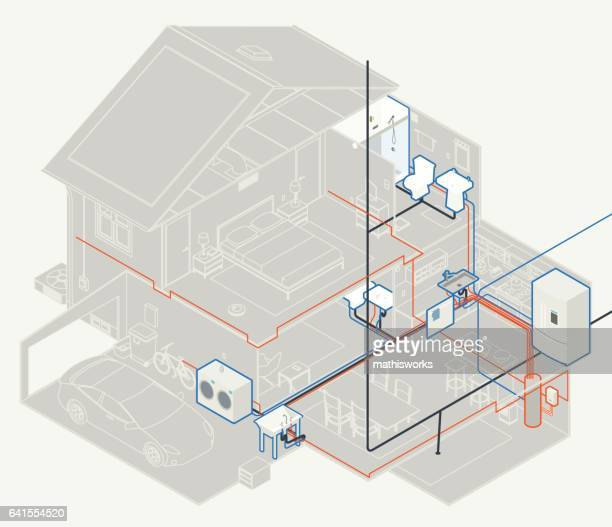 house plumbing diagram - mathisworks architecture stock illustrations