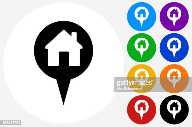 House Point Icon on Flat Color Circle Buttons