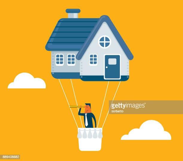 ilustraciones, imágenes clip art, dibujos animados e iconos de stock de casa precio - empresario - propietario de casa
