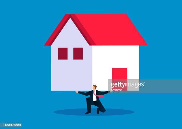 house price pressure - salesman stock illustrations
