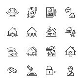 House, Property insurance, Vector illustration of thin line icons for Insurance business, banking