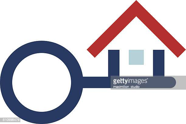 House protection key real estate foundation logo icon