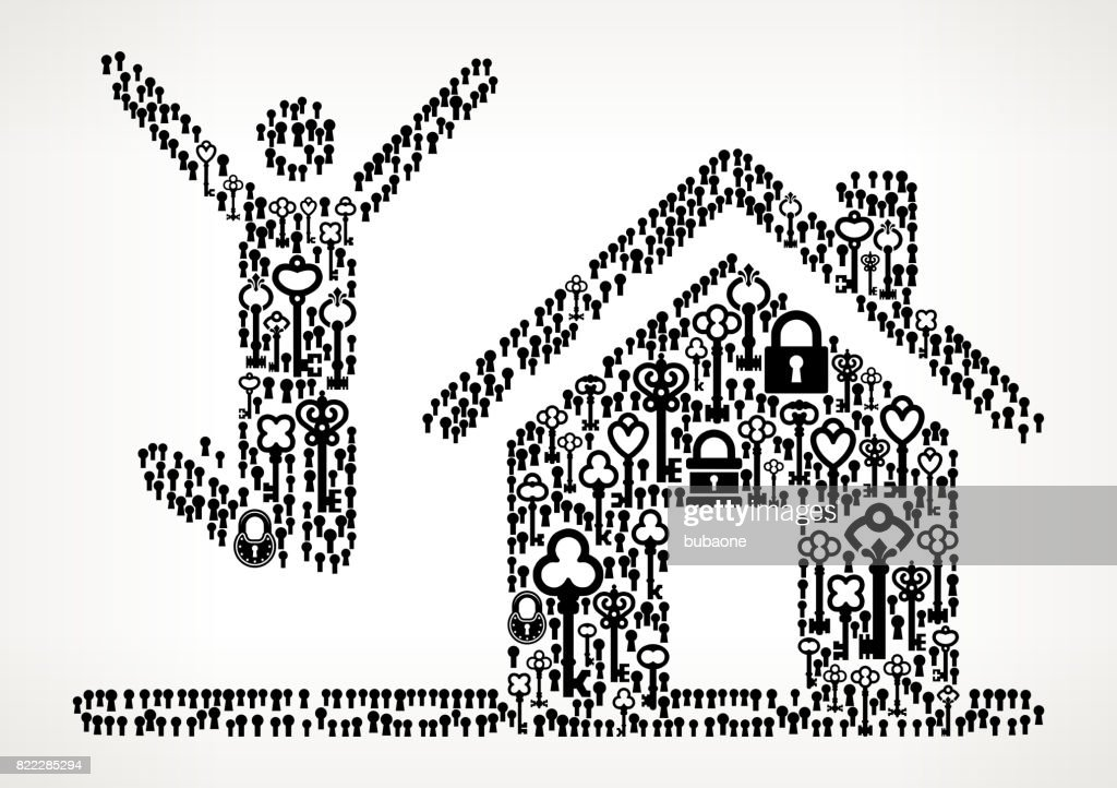 House Purchase  Antique Keys Black and White Vector Pattern : stock illustration