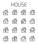 House related vector icon set.