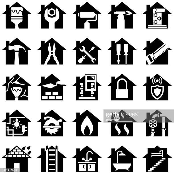 house renovation icons - carpentry stock illustrations