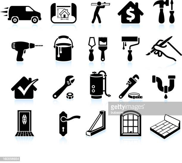 house repair home improvement black and white vector icon set
