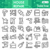 House repair line icon set, Homebuilding and renovating symbols collection or sketches. Construction and repair linear style signs for web and app. Vector graphics isolated on white background.