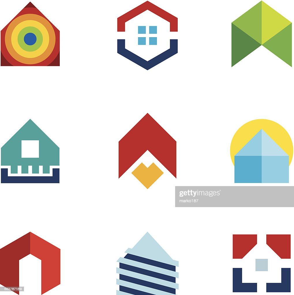 House residential build construction real estate colorful logo icon set