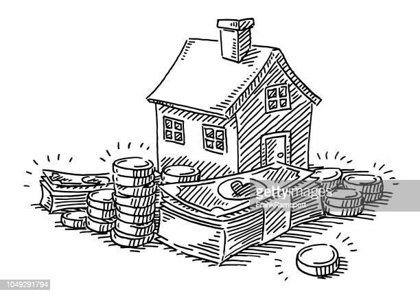 Haus Ruhestand Bereitstellung Geld Zeichnung