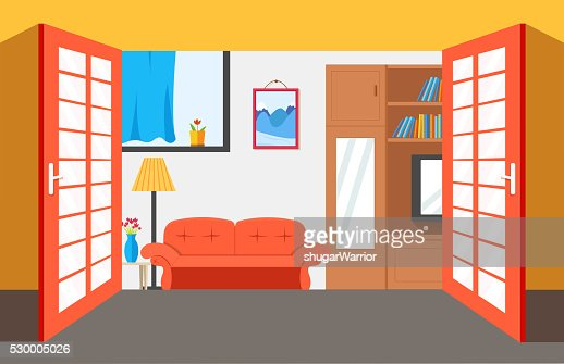 House Room Vector Illustration Background Flat Home Interior Furniture High Res Vector Graphic Getty Images
