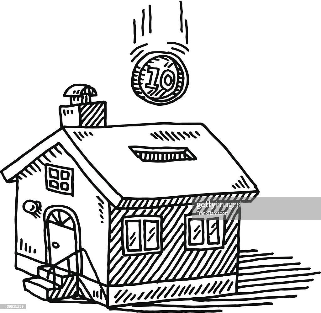 House Savings Box Falling Coin Drawing