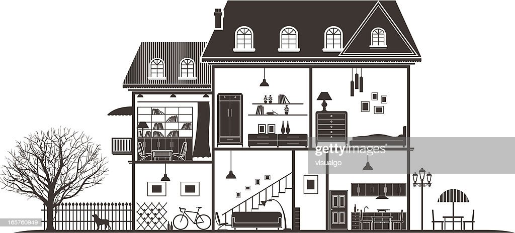 house sections : stock illustration