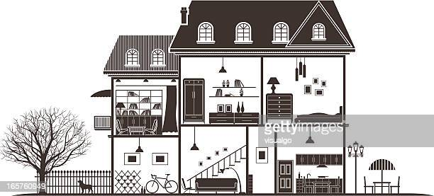 house sections - cross section stock illustrations