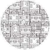 House set in circle. Travel and Architecture Theme.