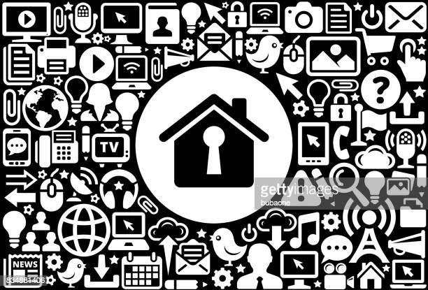 ilustraciones, imágenes clip art, dibujos animados e iconos de stock de casa en forma de bocallave icono blanco y negro fondo de tecnología de internet - ojo de cerradura