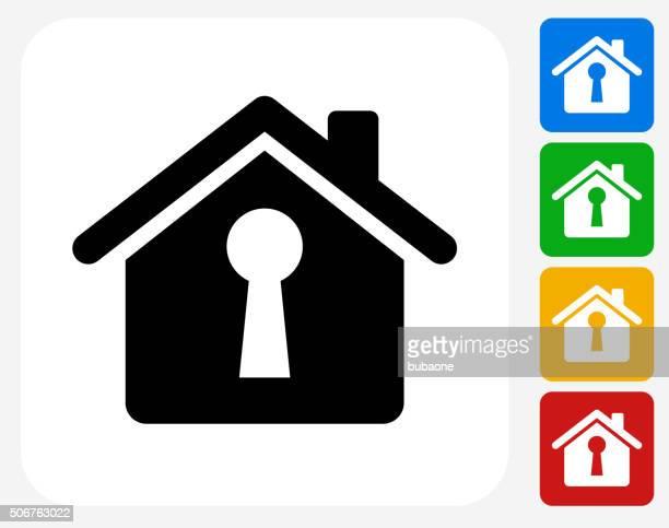 ilustraciones, imágenes clip art, dibujos animados e iconos de stock de ojo de cerradura icono casa diseño planos de diseño gráfico - ojo de cerradura