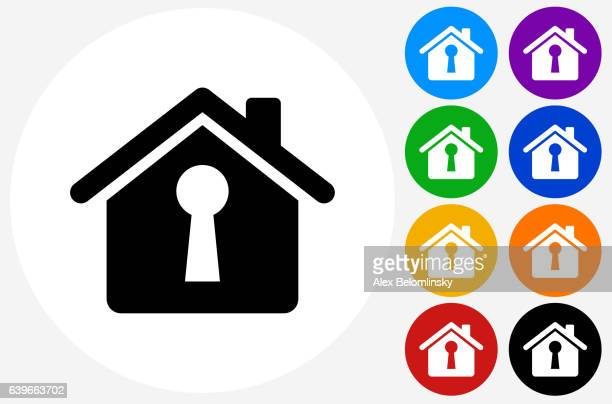 house shaped keyhole icon on flat color circle buttons - keyhole stock illustrations, clip art, cartoons, & icons