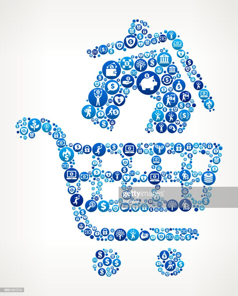 House Shopping  Money Blue Icon Pattern Background : Stock Illustration